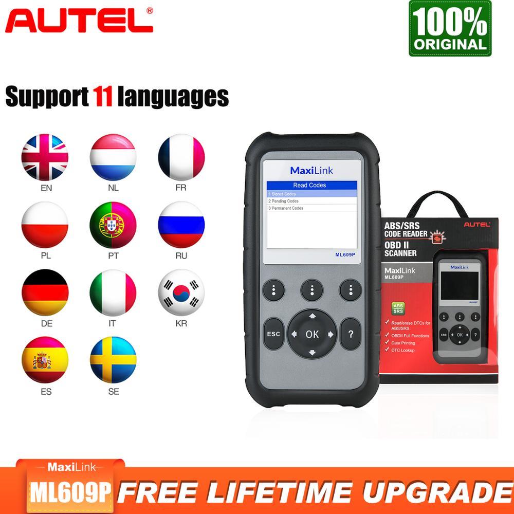 Autel-lector de código MaxiLink ML609P Obd2 para coche, herramienta de diagnóstico ABS...