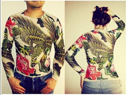 Unisex Punk Eagle Animal Tattoo Shirt Mesh Long Sleeves For Men Women Free Shipping 2018 New Fashion Summer