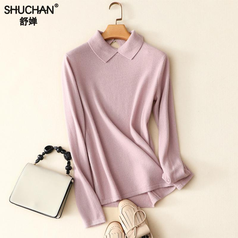 Shuchan 100% Cashmere Sweater Women Pullover Knitted 2018 Autumn Winter Turn-down Collar Casual Pink Sweaters Jumpers Female