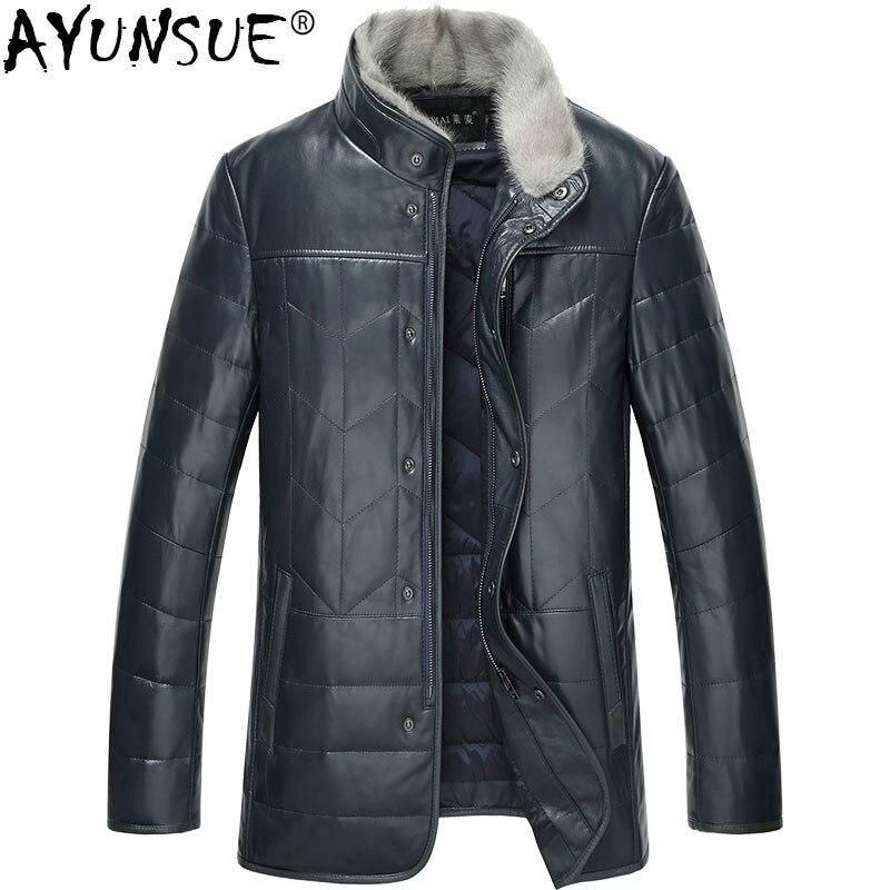 AYUNSUE حقيقية سترة جلدية الرجال جلد الغنم معطف الرجال أسفل سترة الشتاء المنك الفراء طوق ضئيلة السترات الجلدية الحقيقي TX-114098