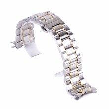 Correa de reloj de lujo Original de 20mm, 22mm, correa de cierre plegable de acero inoxidable y pulsera de eslabones, correa de reloj de pulsera de acero ajustable con hebilla