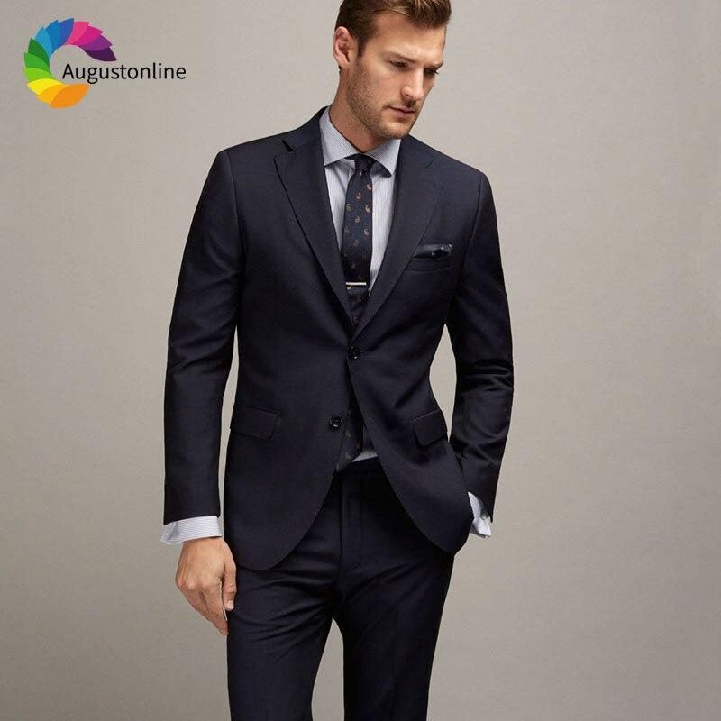 Мужской темно-синий костюм на заказ, Свадебный костюм для жениха, смокинг для жениха, приталенный Мужской Блейзер, пиджак и брюки, мужской ко...
