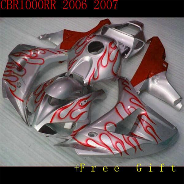¡Oferta! Carenado de moto de moldeo en color rojo plateado para CBR1000RR 06 07 CBR 1000RR 2006 2007, juego de carenados en rojo y naranja brillante ST66