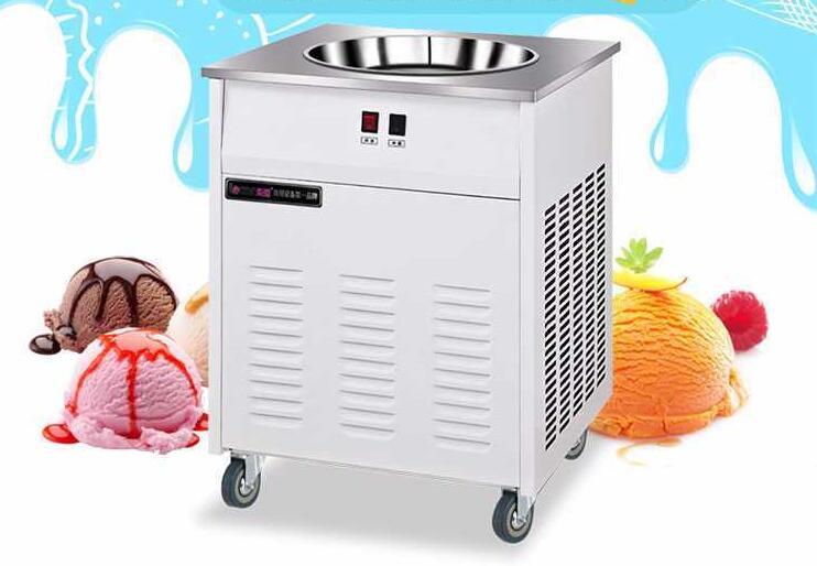 33cm único pan redondo frito máquina de rolo de sorvete comercial máquina de iogurte de leite frito fabricante de sorvete na100s