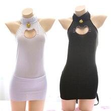 Kawaii Keyhole Cat Hollow Out Women Lingerie Set Skinny Dress + Neko Cat Tail Sexy Cosplay Costume White & Black