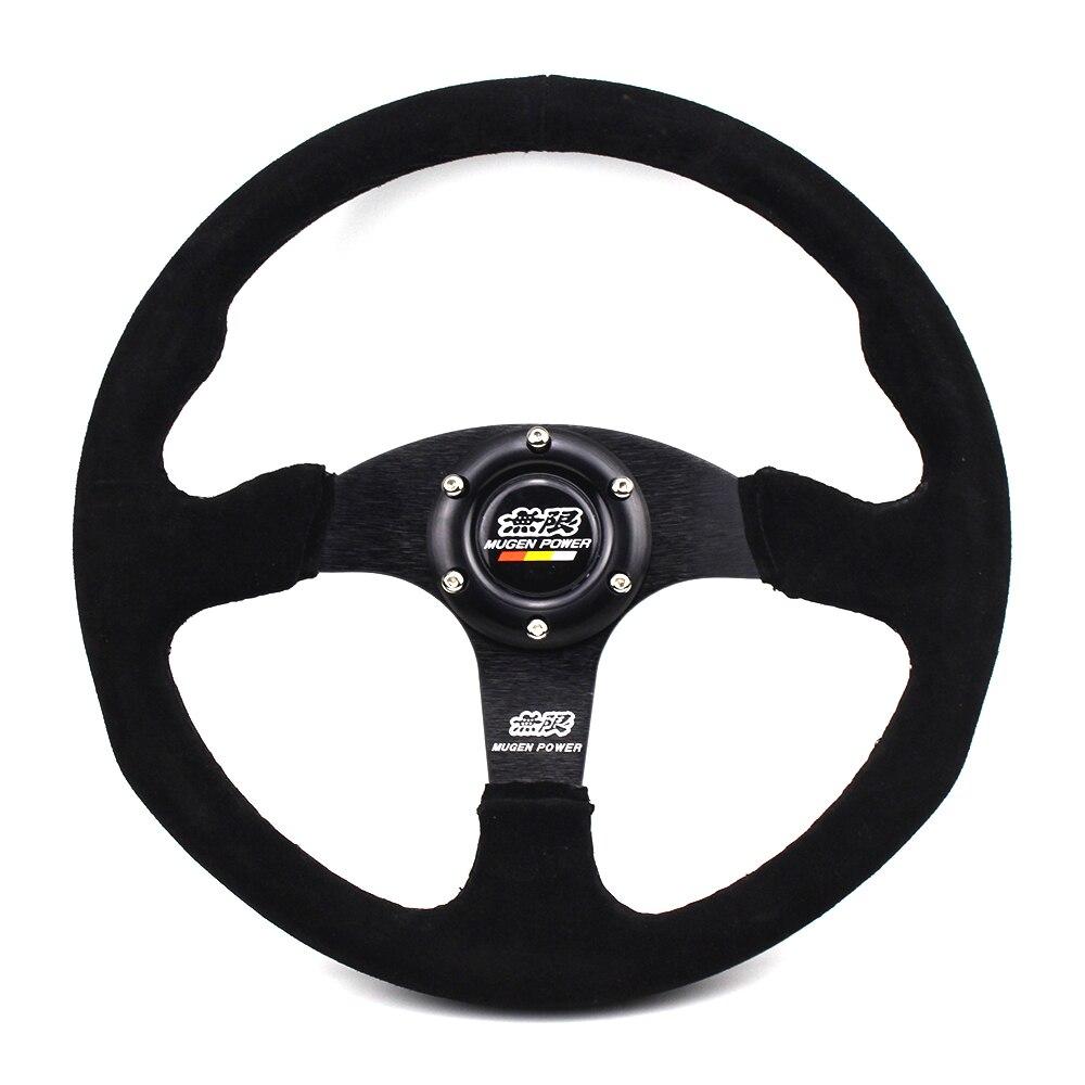 Volante de carreras de 14 pulgadas Mugen Power negro gamuza cuero plano Drift para Honda