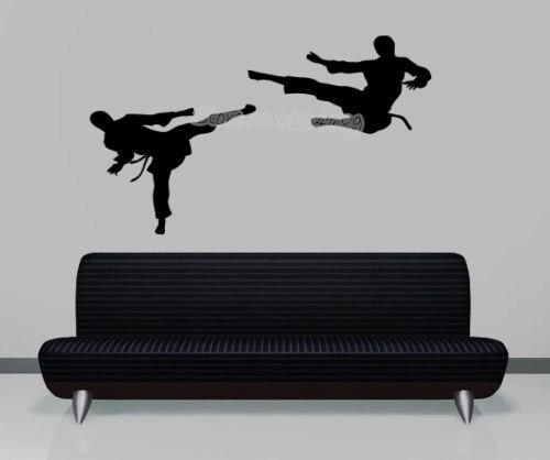 Calcomanía de pared de Kickboxing Marcial, calcomanía de kárate sport, pegatina de Kick Sparring, arte para interiores, Mural para dormitorio de niño EA966