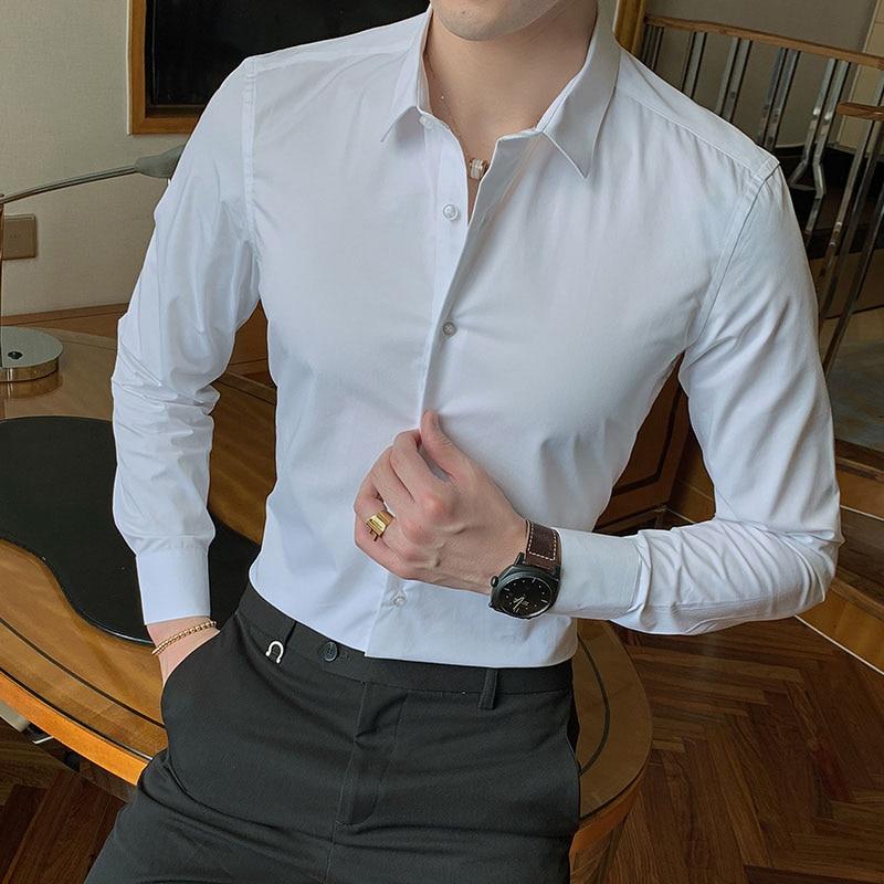 2021 New Fashion Cotton Long Sleeve Shirt Solid Slim Fit Male Social Casual Business White Black Dress Shirt 5XL 6XL 7XL 8XL