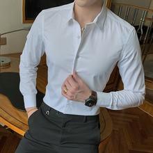 2020 nouvelle mode coton à manches longues chemise solide mince coupe mâle Social décontracté affaires blanc noir robe chemise 5XL 6XL 7XL 8XL