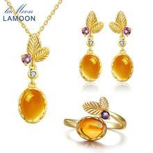 LAMOON klasyczny kwiat 100% naturalny cytryn 925 Sterling Silver biżuteria S925 zestaw biżuterii V022-1