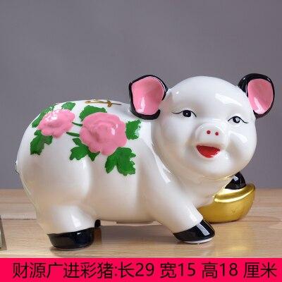 Селадон счастливые деньги для взрослых детей небольшой депозит на замену может орнамент зодиака Цветная Керамическая статуя свиньи артику...