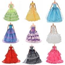 White Elegant Handmade Wedding princess Dress Doll Floral Doll Dress Clothes Clothing Multi Layers Dolls Accessories