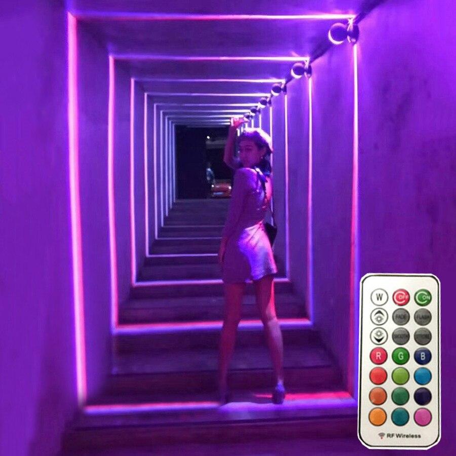 Thrisdar-مصباح حائط LED 360 درجة ، 10W RGB ، لإطار النافذة ، الباب ، مصباح الجدار مع جهاز التحكم عن بعد ، فندق KTV ، الممر ، الممر ، مصابيح الحائط