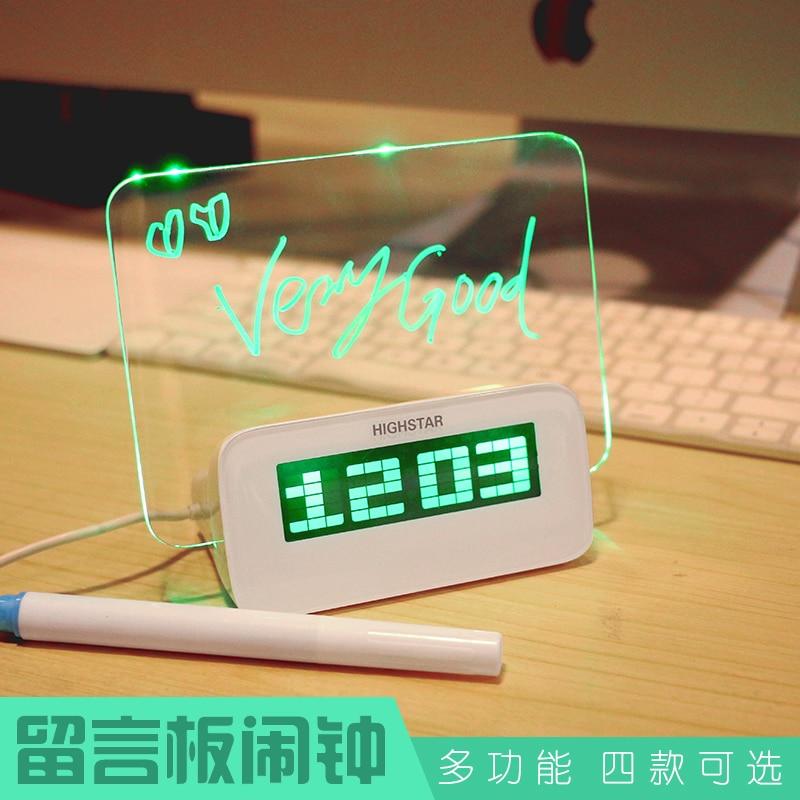 Tablero de mensajes alarma mesilla de noche reloj electrónico mini silencio personalidad creativa para enviar una novia portátil práctico cumpleaños gif