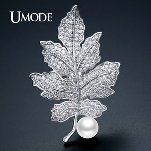 UMODE Large Bouquet Plant Leaf Women Brooches Imitation Pearl Vintage Brooch & Pins Hijab Fashion Jewelry Christmas Gifts UX0022