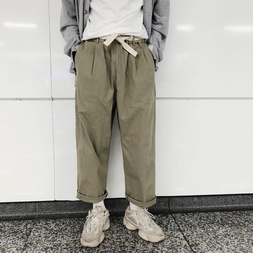 2018 Korean Summer New Men's Fashion Simple Wide Leg Ankle-Length Pants Elastic Waist Loose Casual Solid Color Trousers M- 2XL