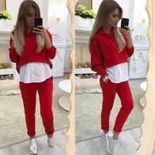 Venta caliente mujeres Otoño de ropa deportiva Casual de manga larga Tops con capucha + Pantalones de longitud completa traje de mujer establece HO833520