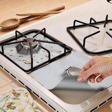 Protecteur dhuile et Anti-salissure   Tapis de cuisinière à gaz température de brûleur, revêtement de nettoyage, outils de cuisine, tapis 4 pièces, feuille de Fiber de verre réutilisable