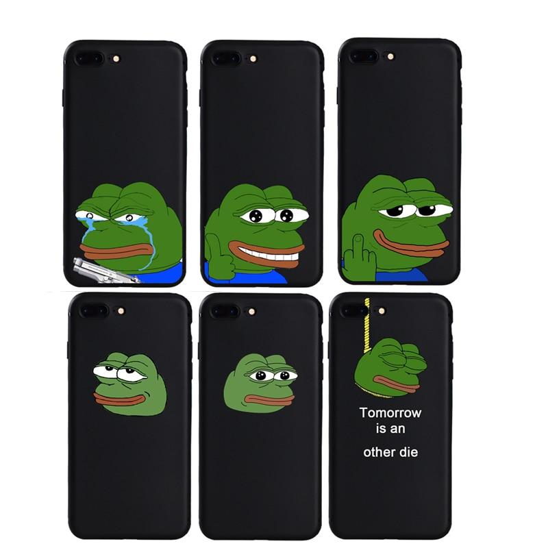 Nuevo verde triste Rana Pepe caso para iphone 5 y 5s SE 7 8 Plus X XS X Max XR Funda de silicona suave para 6s iphone 6 Plus Funda de dibujos animados