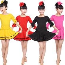 Couleurs fille fête scène porter Latin robe Standard enfants Latin compétition danse robe enfants Salsa salle de bal danse costumes