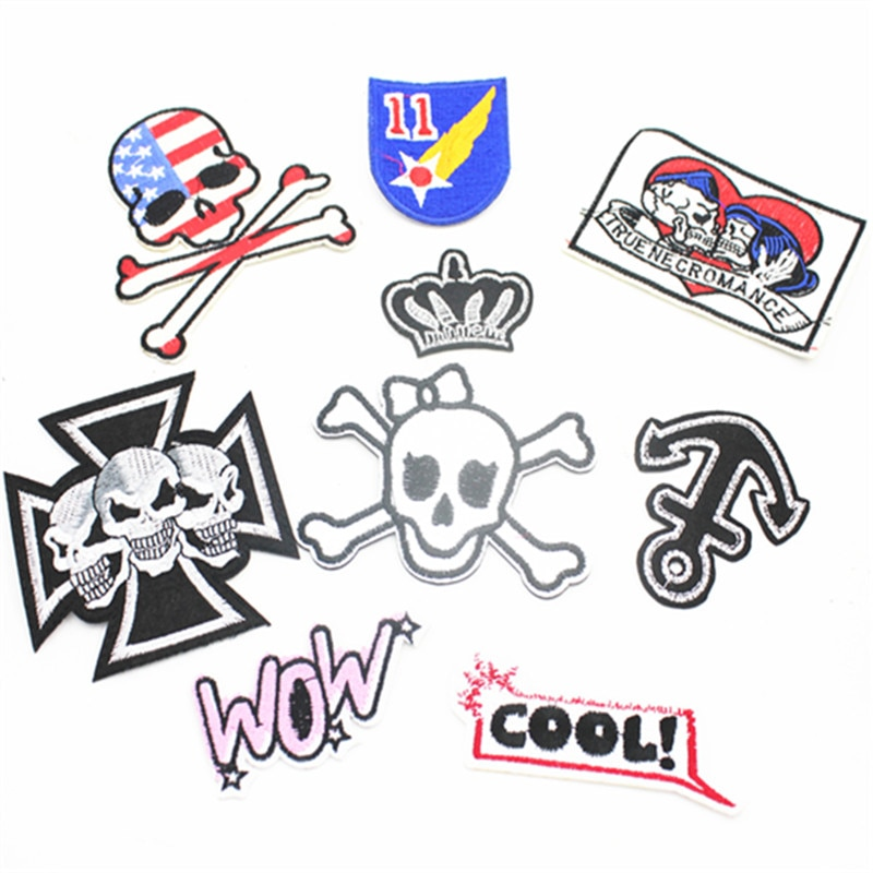 Sewing Clothes  Patch Iron On Embroidery Patches Hotfix Applique Motifs Sew On Garment Stickers smile face Skull head and other
