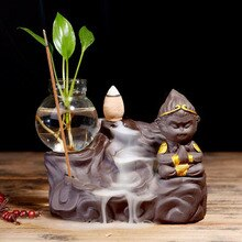 Refluxo de cerâmica Queimador de Incenso Artesanato Hidropônicos Wukong Chan Incenso de Lótus Forno Aromaterapia Titular da Planta Do Chá Casa Decor