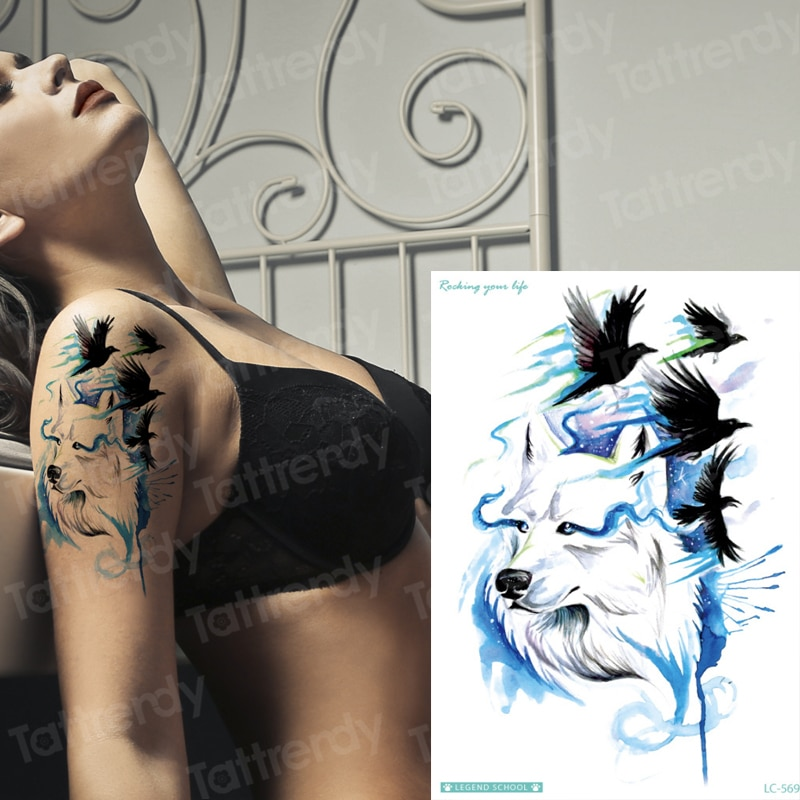 Diseños de tatuaje de lobo manga de tatuaje sexy para mujer pegatinas corporales bikini animales pájaros negros patrón tatuaje falso chicos grandes hombro del brazo