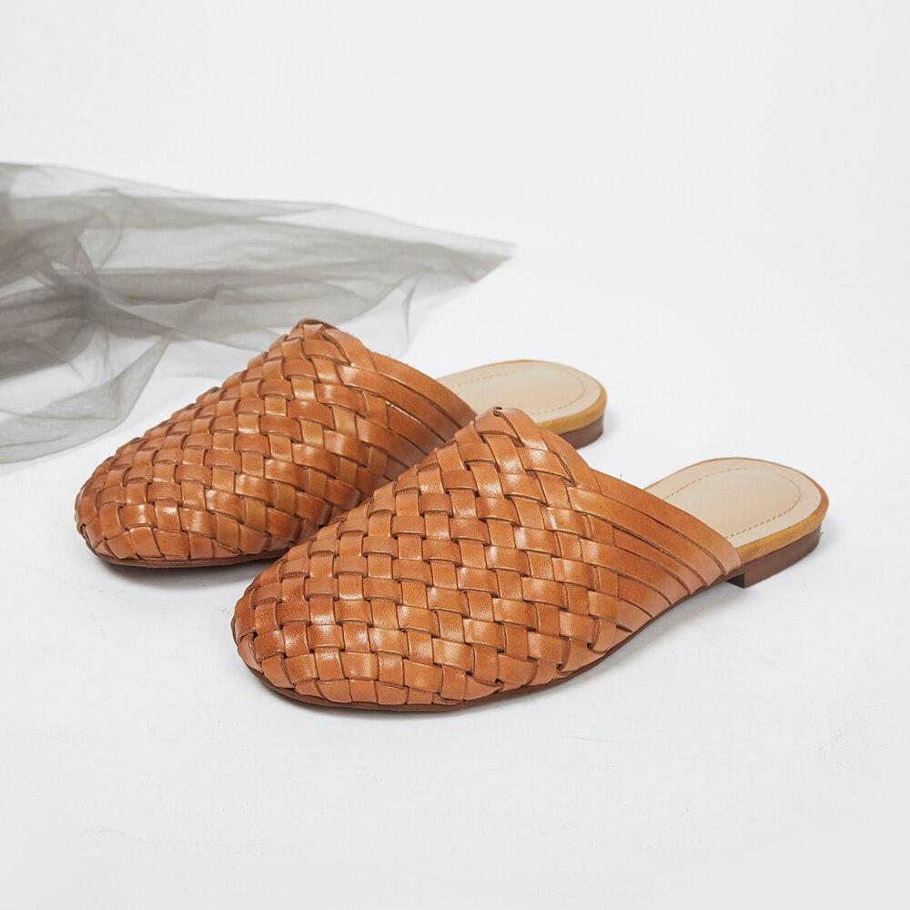 Schoenen vrouwelijke 2019 zomer nieuwe golf lederen hand geweven vintage baotou woord platte platte bodem outdoor sandalen en slippers