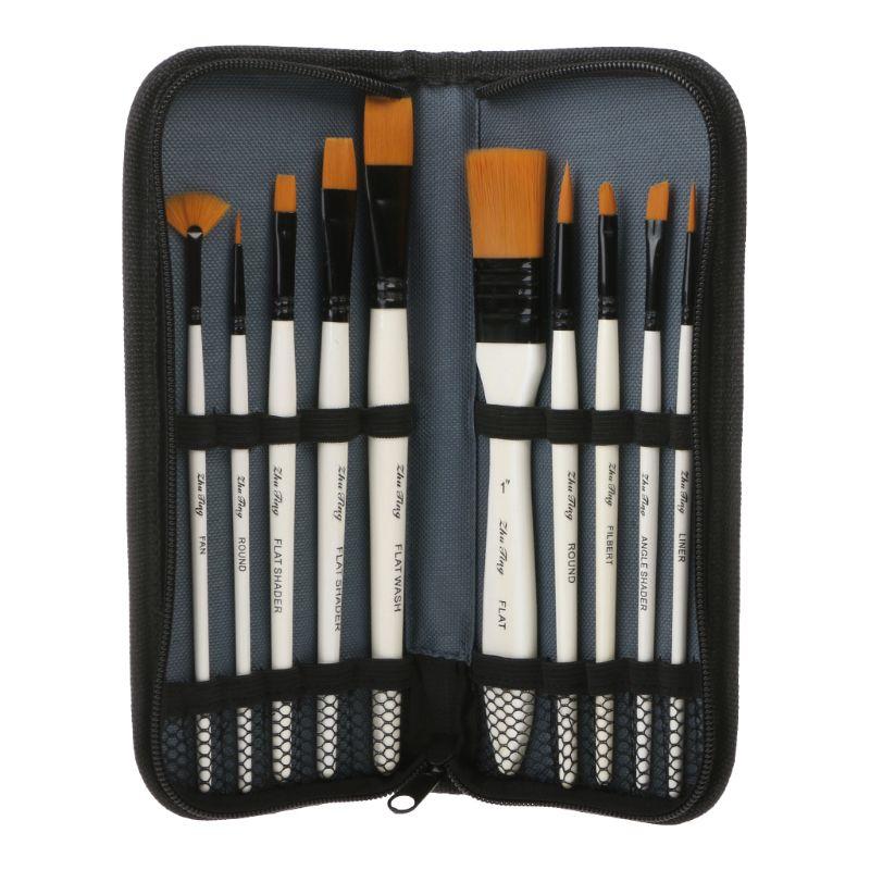 10 Uds de pelo de Nylon arte set de pinceles de pintura acuarela con aceite acrílico set de pinceles para artistas dibujo suministros para arte de papelería