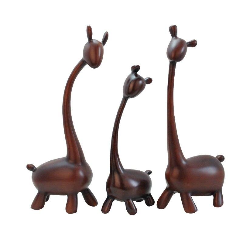 Decoración del hogar ornamentos ciervos de resina moderno minimalista de madera de Color tres adornos Fawn regalos de boda amantes del dormitorio regalos miniatura