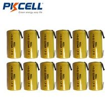 12PCS PKCELL NiCd Rechargeable Battery Sub C SC 1.2V 2200mAh Ni-Cd Batteries & Tabs
