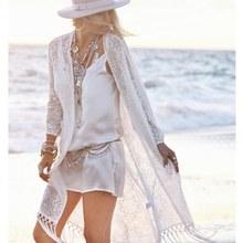 Boho femmes frange dentelle kimono cardigan blanc glands plage couvrir Cape hauts Blouses damen bluze