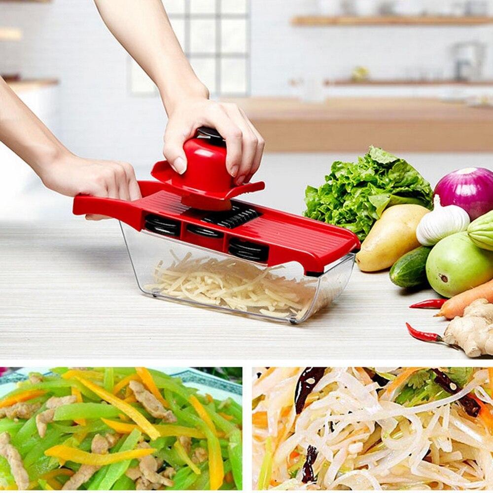 Cortador de verduras de trituradora multifunción con hoja de acero inoxidable Manual pelador de patatas zanahoria Dicer herramienta de cocina creativa