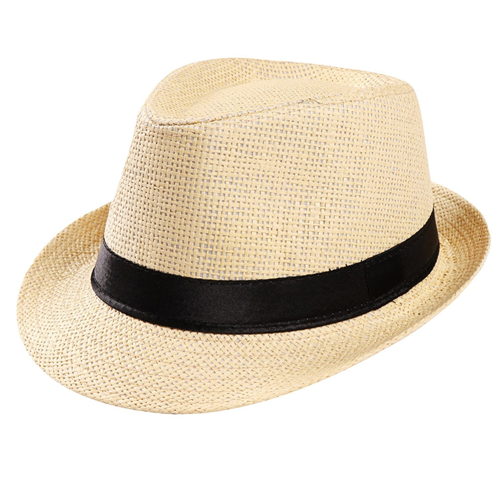 On sale Unisex Women Men Fashion Casual Trendy Beach Sun Straw Panama Jazz Hat Cowboy Fedora hat Gangster Cap summer hat 4.23