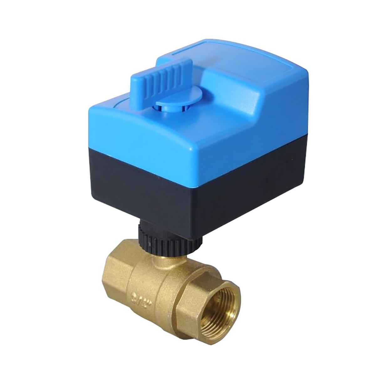 AC220V AC24V 2 طريقة النحاس صمام صمام كروي مزود بمحرك الكرة الكهربائية صمام المحرك الكهربائي مع التلقائي واليدوي DN15-DN25