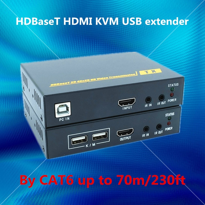 ZY-HT201HKM 70m HDBaseT código HDMI USB KVM Extender sobre RJ45 CAT6 Cable HDMI 4K POE Extender con IR HDMI 1,4 V Full HD 3D 4K repetidor