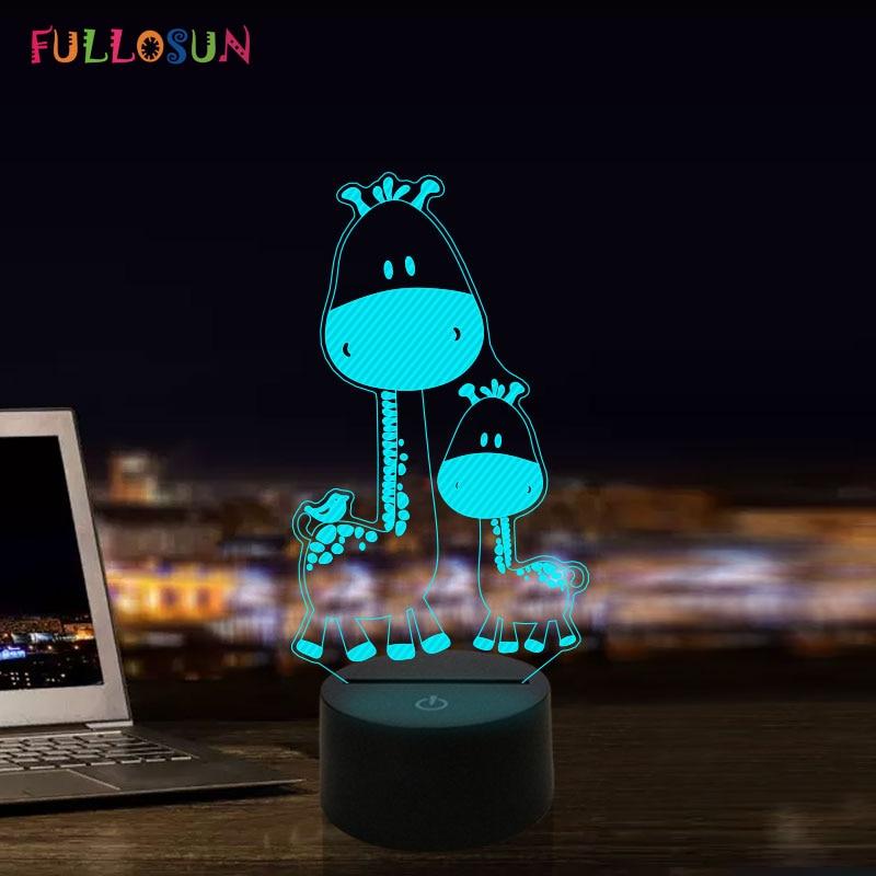 Luz Nocturna 3D LED jirafa ciervo luz de noche 7 colores decoración novedad lámpara LED niños