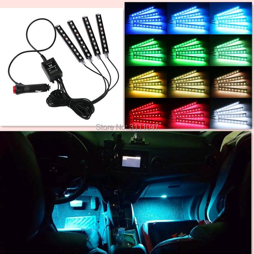 Tiras de luz LED de coche Auto RGB atmósfera lámpara para fiat stilo peugeot 407 vw a subaru impreza fiat audi a4 b6 renault clio