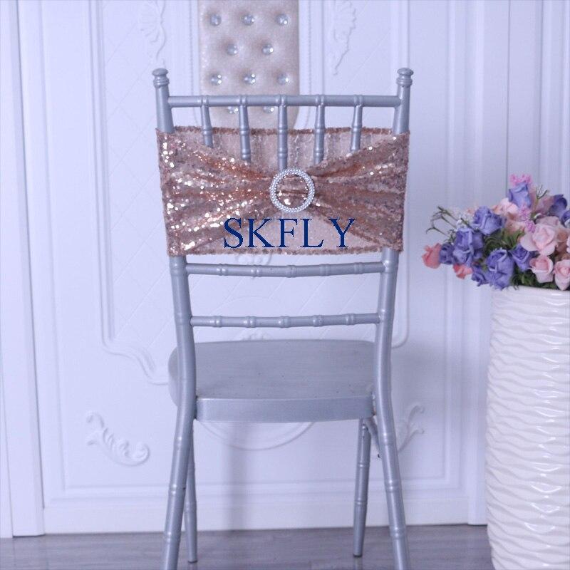 SH022A nuevo barato hecho a medida muchos colores 2019 decoración de la boda Rosa oro lentejuelas silla banda silla faja con hebilla