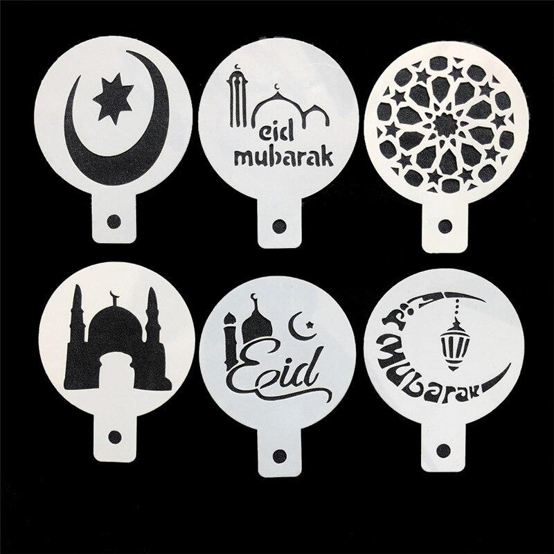 6 plantillas de café unids/lote Eid Mubarak Happy Ramadan Star Moon Cake Duster herramientas de decoración de café arte musulmán suministros para fiestas