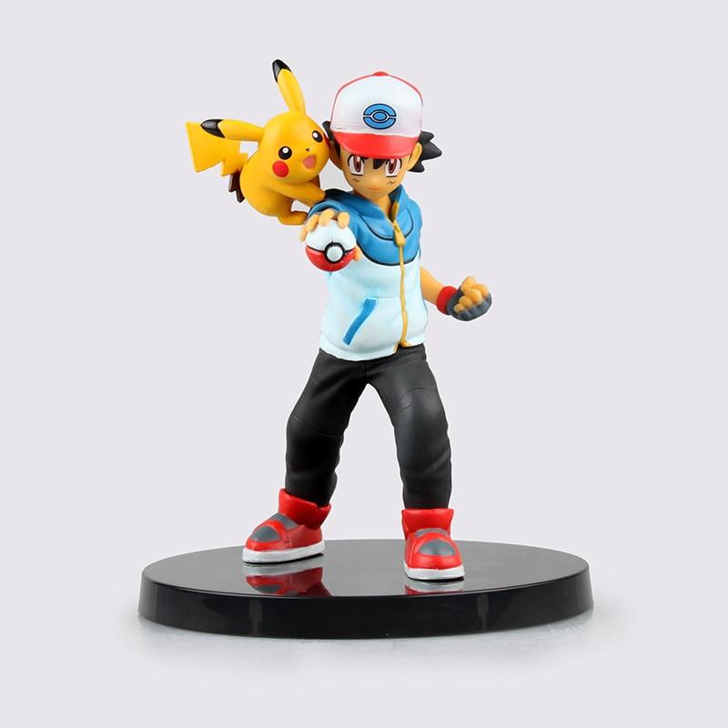 13,5 cm figura de Ash Ketchum Pikachu juguete de PVC asociados figura de acción Colección de resina modelo regalos de muñecas muñeca