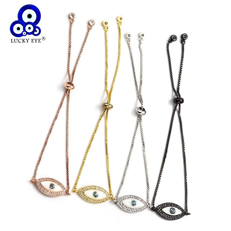 Lucky eye braceletes de cobre micro zircão ajustável pulseiras pulseiras corrente rosa cor do ouro para mulheres jóias da menina ey5485