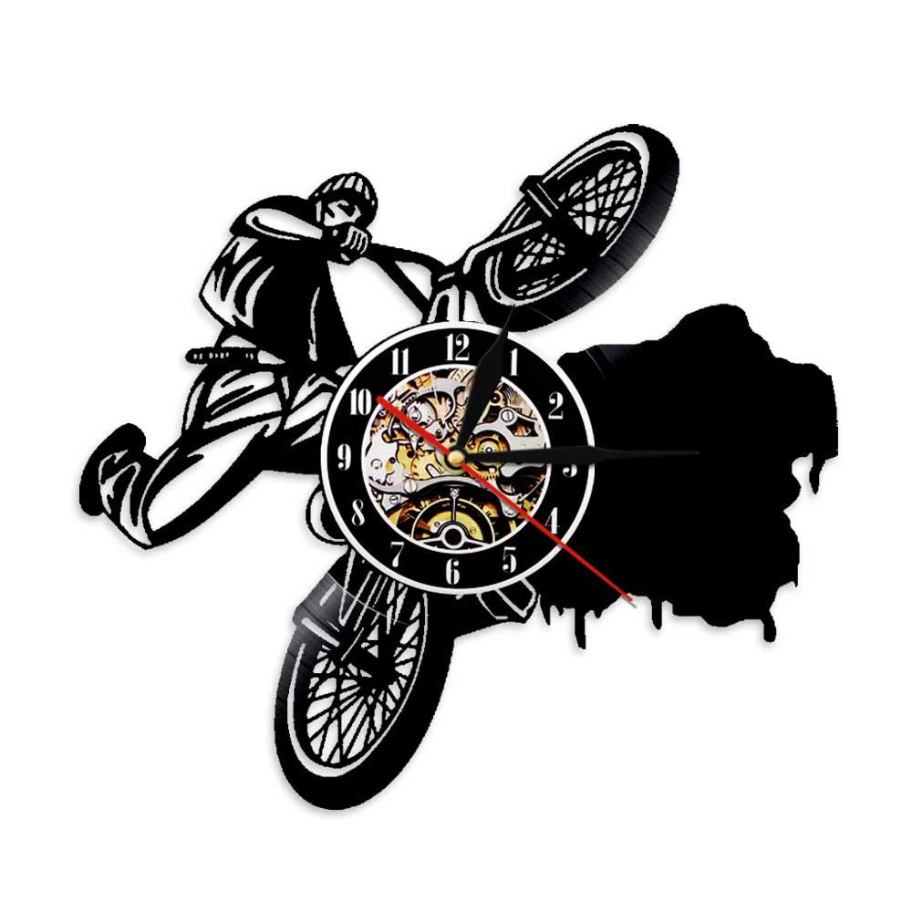BMX-Reloj de vinilo para bicicleta con iluminación LED, reloj de pared con diseño moderno para deportes extremos y decoración de interiores