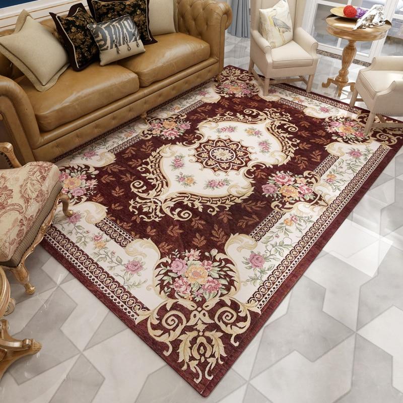 Alfombra de Jacquard de palacio europeo, Alfombra de dormitorio para hogar, alfombra clásica para sofá, mesa de café, sala de estudio, alfombra para niños