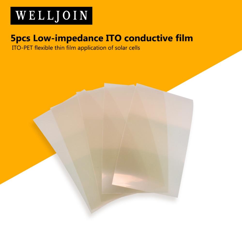 5 piezas de película conductora de ITO de baja impedancia ITO-PET Aplicación de célula solar de película delgada flexible