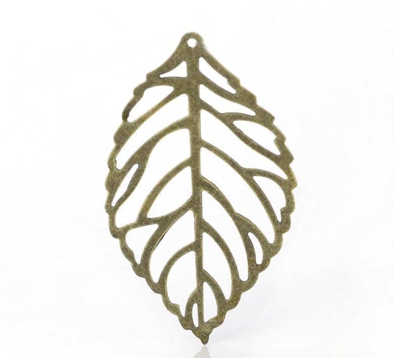 "DoreenBeads 100PCs Antique Bronze Leaf Stamping Embellishments Findings 4.4x2.6cm(1 6/8""x1"") (B21289), yiwu"
