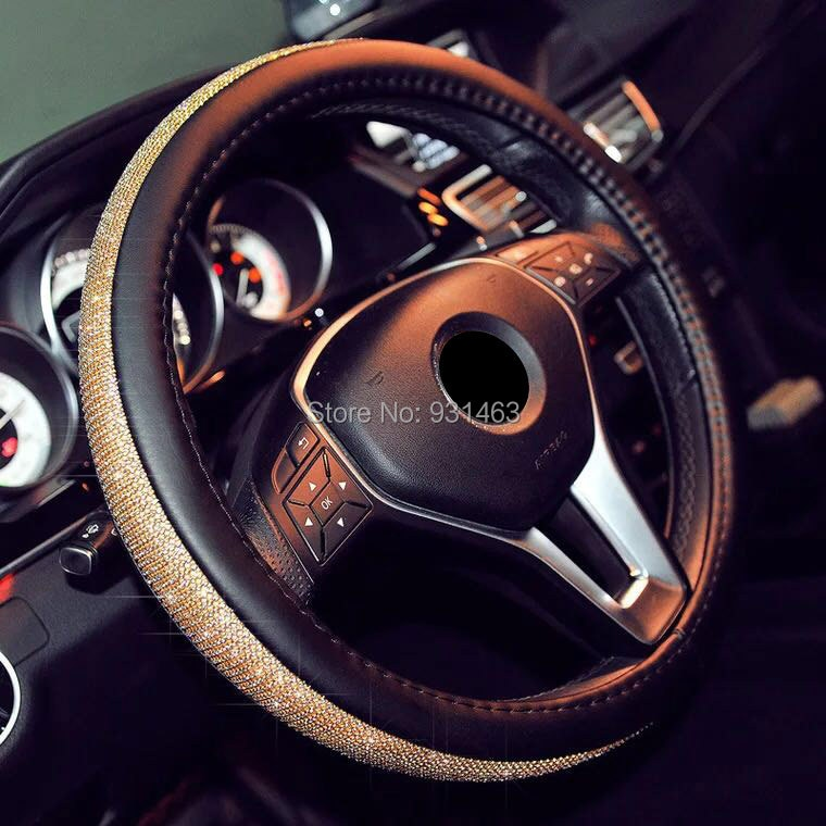 HUANLISUN car steering wheel cover Auto Sparkly Diamond Decoration for Mazda KIA Mercedes Toyota Honda Audi Opel