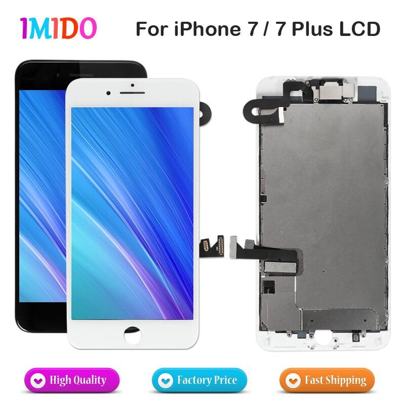 Lcd aaa, para iphone 7 7 plus, display oem, conjunto completo, digitalizador, montagem 3d, touch screen, substituição + câmera frontal + fone de ouvido alto-falante