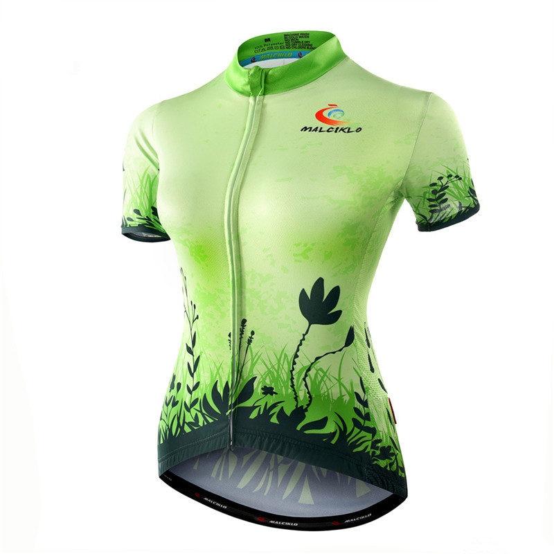2017 Green Cycling Jersey Women Grass Cycling Shirt Flower Bicycle Clothes Girl Short Sleeve Bike Jerseys