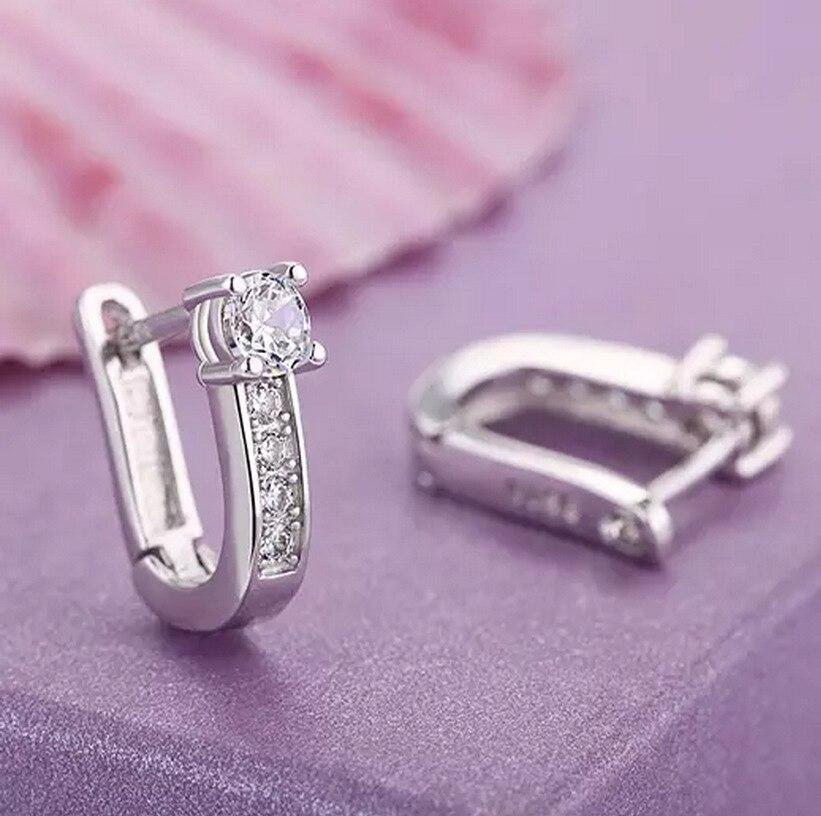 Moda desgin ouro branco luxo jóias feminino casamento presente de noivado 925 argolas prata geométrica brinco redondo para senhora menina